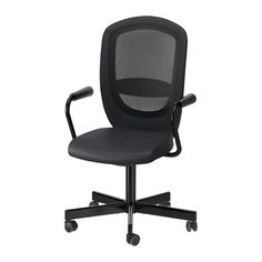IKEA - FLINTAN / NOMINELL, Swivel chair with armrests, black, , You can lean back with perfect balance, as the tilt tension mechanism automatically adjusts the resistance to suit your weight and movements.Increased stability with the lockable tilt function.You sit comfortably since the chair is adjustable in height.Your back gets support and extra relief from the built-in lumbar support.The safety casters have a pressure-sensitive brake mechanism that keeps the chair in place when you st...
