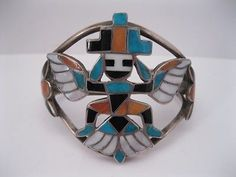 Amazing Old Zuni Flush Inlay Knifewing Kachina Bracelet