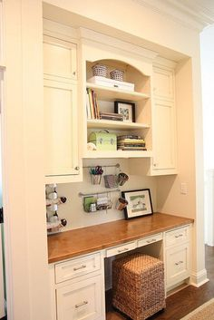 love the rail idea!   White & Wood Office Nook - traditional - home office - other metro - gracefulvintage