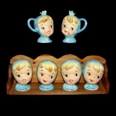 A fantastically cute set of Napco Miss Cutie Pie Girl Spice Jars.