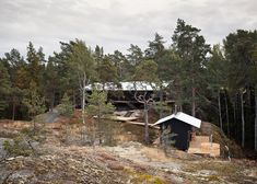 This wooden holiday house by Swedish studio Max Holst Arkitektkontor is perched on the edge of a gorge in Vindö, an island on the Stockholm archipelago Stockholm Archipelago, Scandinavian Architecture, Wooden Cottage, Design Your Own Home, Journal Du Design, Forest Design, Nordic Design, Dezeen, Exterior