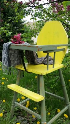 Vintage wooden highchair refinished in chalk paint and distressed, then sealed with an organic dark antiquing wax.