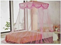 39.99 PINK four point BED CANOPY MOSQUITO NET FITS TWIN FULL in Home & Garden, Bedding, Canopies & Netting | eBay