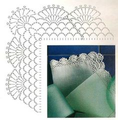 Best 12 Crochet Patterns Lace Crochet Lace Edging for Handtowel ~~ sandragcoatti – Salvabrani – SkillOfKing. Crochet Lace Collar, Crochet Lace Edging, Crochet Motifs, Crochet Diagram, Crochet Chart, Filet Crochet, Cotton Crochet, Thread Crochet, Crochet Trim