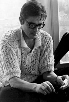 Alain Delon, 1967. Not many men could carry off a crocheted sweater...