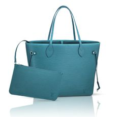 Louis Vuitton Neverfull, now available in Epi Cyan.