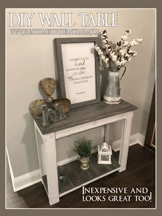 DIY Wall / Console Table, easy and inexpensive home décor project. DIY Wall / Console Table, easy and inexpensive home décor project. Diy Entryway Table, Sofa Table Decor, Hallway Table Decor, Accent Table Decor, Table Decor Living Room, Home Living Room, Wall Tables, Accent Tables, Entry Table Farmhouse
