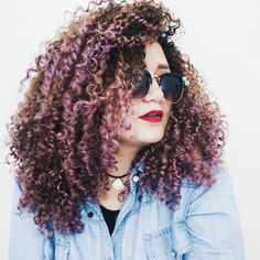 curly natural hair rainbow hair mermaid hair pink hair purple hair