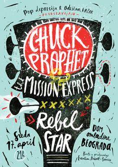 Chuck Prophet - Concert Poster on Behance via Baubauhaus.