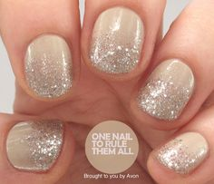 One Nail To Rule Them All: Nude Glitter Gradient for Avon