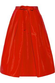 Pleated silk-faille skirt