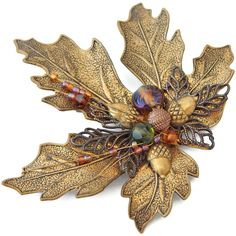 Leaf Brooch with Acorns and Glass Beads Antiqued Gold Tone by EclecticVintager on Etsy