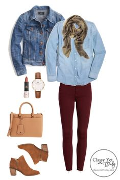 What To Wear In October: 4 Outfit Ideas - includes a chambray shirt, burgundy jeans, denim jacket,. October Outfits, Fall Outfits, Casual Outfits, Fashion Outfits, Womens Fashion, Fashion Trends, Man Fashion, Casual Attire, Botines Casual