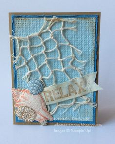 """Stipple Shells  by Lisa Walsh, STAMPS: Stipple Shells, ABC-123 Sketch Alphabet & Numbers PAPER: Baked Brown Sugar, Marina Mist, Soft Sky, Naturals Ivory INK: Baked Brown Sugar, Crisp Cantaloupe, Marina Mist OTHER: 7/8"""" Cotton Ribbon, Square Lattice EF, Gold Bakers Twine, sewing machine   The net was made from the bakers twine with the gold filament removed"""