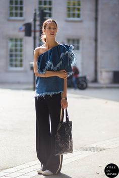 Marques Almeida top Street Style Street Fashion Streetsnaps by STYLEDUMONDE Street Style Fashion Photography