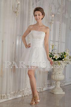 vestidos de novia Blanco Corte A Sin tirantes Corazón Encaje Cuentas Flors Sin Mangas