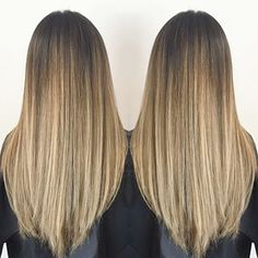 Straight and Sleek | Champagne Beige BabyLights x Balayage Melt | After: Color…