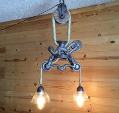 Trolley plus pulley...trolley is upsidedown!...$375....run 2 lamps at each end, use barnwood rail instead of top pulley