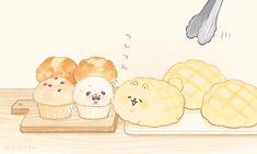 """いーすとけん。【公式】 on Twitter: """"連休明けでもいつもとかわらず元気なサモメロンです🍞 #いーすとけん。 #yeastken #サモメロン #とさあんこ #カップパグ #連休明け… """" Cute Food Drawings, Cute Animal Drawings Kawaii, Cute Cartoon Drawings, Kawaii Chibi, Kawaii Art, Cute Food Art, Cute Art, Dog Bread, Cute Marshmallows"""