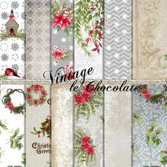 Christmas Digital Paper Watercolor Paper by VintageLeChocolate