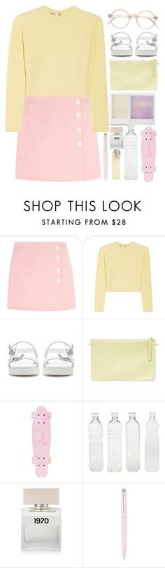 """Pastels: Mini skirt"" by monicanne ❤ liked on Polyvore featuring Miu Miu, Zara, Holga, Seletti, Bella Freud and Waterman"