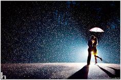 rainy wedding shot