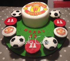 Manchester United cake, boys cake, football cake. Man Utd cake.