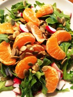 Liver cleansing recipe from Spring Renewal: Tangy Arugula Salad. #vegan #glutenfree #refinedsugarfree #oilfree #datesweetened #guiltfree
