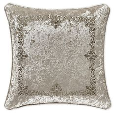 Upgrade the sense of elegance in your space with the J. Queen New York Dream Square Throw Pillow. Rendered with an intricate embroidery on a solid velvet face to add a royal decadent finish, it features a solid velvet piping finish. Queens New York, Queen News, Fabric Squares, Crushed Velvet, Bedding Collections, Comforter Sets, Pillow Shams, Decorative Throw Pillows, Natural