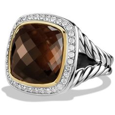David Yurman Women's Albion Ring with Smoky Quartz and Diamonds with... ($1,850) ❤ liked on Polyvore featuring jewelry, rings, apparel & accessories, smoky quartz, pave diamond ring, david yurman rings, smoky quartz gold ring, 18k yellow gold ring and 18 karat gold ring