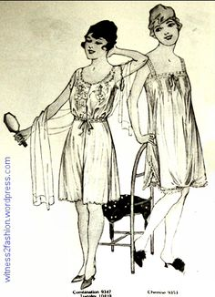 Butterick combination 9347 and Butterick chemise 9353. Delineator, Aug. 1917, p. 49.