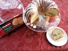 Gluten-Free Cream Cheese Pound Cake with Walkers Shortbread Streusel Filling and Sugary Glaze
