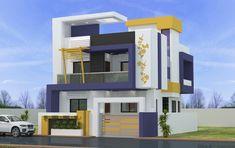 House Balcony Design, House Outer Design, Duplex House Design, House Front Design, Duplex House Plans, Modern House Plans, House Floor Plans, Building Elevation, House Elevation