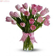 Spring Tulips - Precious Pink Tulips Vased from Brant Florist online worldwide florist. Pink Tulips, Tulips Flowers, Real Flowers, Flower Shop Dubai, Wildwood Flower, Pink Flower Bouquet, Easter Flowers, Pink Home Decor, Vase Arrangements