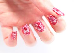 Water Marble Red & White Nails by DoBeauting!
