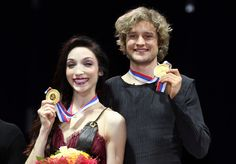 Meryl Davis and Charlie White of USA with their gold medals after the Ice Dance Free Dance during the Grand Prix of Figure Skating Final 2012 at the Iceberg Skating Palace on December 8, 2012 in Sochi, Russia.