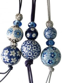 Blue and White Polish Pottery Blue And White China, Love Blue, Red And Teal, Brown And Grey, Pink White, Purple, Diy Jewelry, Beaded Jewelry, Jewelry Making
