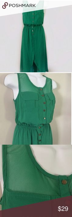 NWT! Lavand green sleeveless dress Brand new! Has fine mesh over shoulders and back. Pockets on the chest   The bottom of the dress is slightly longer in the back than in the front Dresses High Low