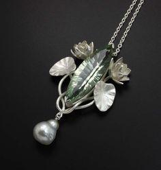 Green amethyst lotus silver pendant by KAZism on Etsy, (C) Kazuhiko Ichikawa