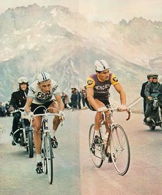 Raymond Poulidor and Jacques Anquetil in the Alps, 1966 Tour de France.