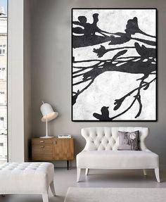 Riesige abstrakte Malerei auf Leinwand, vertikale Gemälde, Extra große Wandkunst, Abstract Art-Struktur, handgefertigt. Schwarz weiß mit Texturen.