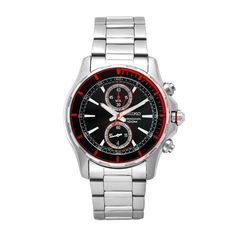 Seiko Men's SNN247 Sports Stainless-Steel Black Chronograph Dial Watch Seiko. $122.53. Scratch-resistant hardlex crystal. Precise Japanese Quartz movement. Water-resistant to 330 feet (100 M). Stainless steel case and bracelet. Black dial; Chronograph; Date window; Luminescent hands and markers