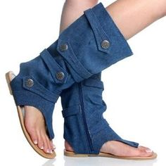 Denim boot-sandals    Though we've recently been all over the popular denim-on-denim trend (chambray shirt with jeans, yes!), we have to draw the line somewhere. And we're drawing it here, with these hybrid boot-sandals made from jeans.