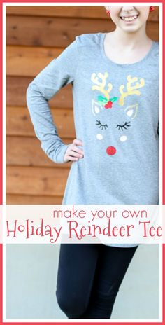 how to make your own Holiday Reindeer Tee with heat transfer vinyl - Sugar Bee Crafts Christmas Vinyl, Christmas Sewing, Christmas Makes, Diy Christmas Gifts, Christmas Projects, All Things Christmas, Handmade Christmas, Christmas Clothes, Christmas Time