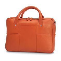 Giorgio Fedon Orange Leather Briefcase