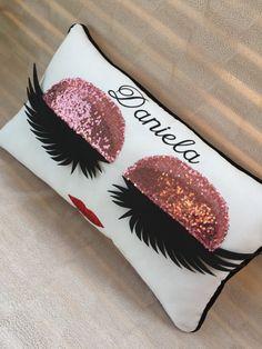 Monogram Personalized Eyelashes Pillow Eyelash sign Make up