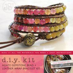 wrap bracelet diy kit agate gemstones reds pink by julysupply, $42.00