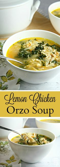 This delicious Lemon Chicken Orzo Soup recipe is the perfect alternative to the traditional chicken soup. Packed with chicken, orzo, and kale, and a twist of lemon, this fast and easy soup min) will warm your soul on a chilly day! Use GF orzo Sopas Light, Lemon Chicken Orzo Soup, Chicken Soups, Lemon Orzo Soup, Spinach Soup, Soul Chicken, Cooking Recipes, Healthy Recipes, Healthy Soup
