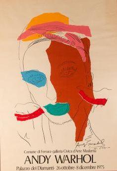 """Andy WARHOL Poster """"Ladies and Gentleman"""" Lithographie offset, signée et dédicacée. Dimensions : 100 x 70 cm Cette oeuvre provient d'une série intitulée """"Ladies and Gentlemen"""" ou simplement """"Drag Queen Paintings"""", exposée pour la première fois à Ferrara au Palazzo dei Diamanti en Italie. Ce poster a été réalisé pour cet événement, et présente la signature originale d'Andy Warhol en bas à droite, avec une dédicace."""