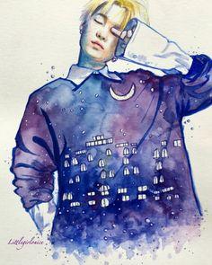 Time flows like stars★彡 Min Yoongi Bts, Bts Suga, Underground Rappers, Kpop Drawings, Agust D, Watercolor Sketch, Bts Chibi, Bts Fans, Kpop Fanart